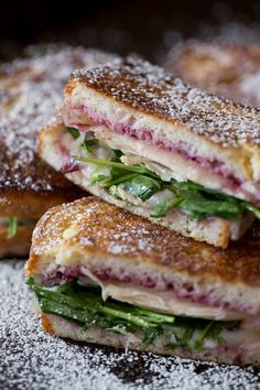 This turkey Monte Cristo is made with cranberry sauce, arugula, leftover turkey and Swiss cheese. Perfectly grilled and gluten free! This is the perfect sandwich for using up all those Thanksgiving leftovers!