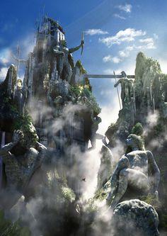 Mount Olympus by George Evangelista. ArtStation  Illustration for Demigod Games
