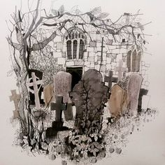 Graveyard #cemetery #church #ivy #tombstone #creepy #spooky #draw #drawings #sketch #sketchbook #pen #picoftheday #dailypic #dailyart #arty #art_collective #urbansketch #hashtag