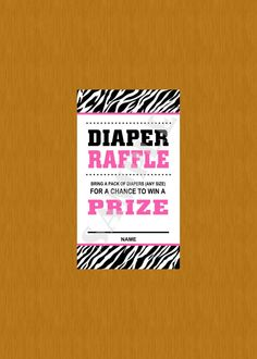 Instant Download-  Print Yourself Pink Diaper Raffle Ticket Zebra Baby Shower Game PDF on Etsy, $2.50