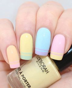 Image via Hit two in one here, the double french nails and pastel colours are a great way to start Spring Image via French Nail Art Trends for Christmas 2012 Image via n Fancy Nails, Trendy Nails, Love Nails, Diy Nails, Glitter Nails, Spring Nail Art, Spring Nails, Spring Art, Summer Nails
