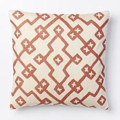 Crewel Lattice Cushion Cover - Rose Bisque