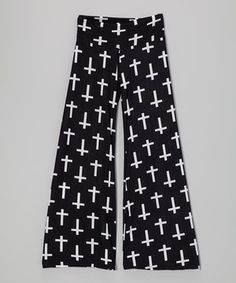 Another great find on #zulily! Black & White Cross Palazzo Pants - Girls by Lori & Jane #zulilyfinds