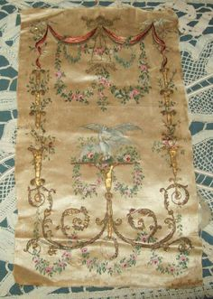 antique handpainted embroidery