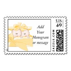 Yellow Twins Baby Shower Postage Stamps