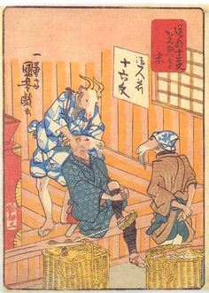 HAIR SALON BY SHEEP  KUNIYOSHI UTAGAWA 1798-1861 Last of Edo Period