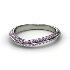 Palladium Ring with Amethyst - Lotus Matching Band | Gemvara 1038
