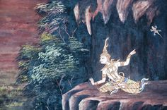 Thai Mural Painting on the wall of Emerald Buddha Temple in Bangkok, Thailand