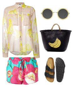 """banana"" by camilamairams ❤ liked on Polyvore featuring San Diego Hat Co., MSGM, Birkenstock and Ace"