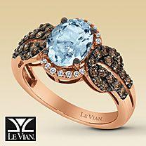 Le Vian® 14K Gold Diamond & Sea Blue Aquamarine™ Ring