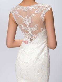 Sexy Scoop Neck Chapel Train Mermaid Lace Wedding Dress