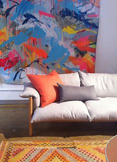 Love the sustainable GECA certified Jardan Wilfred Sofa with amazing Rowena Martinich artwork. Deco Wall, Poster Prints, Posters, Unusual Art, Aboriginal Art, Wall Art Decor, Interior Architecture, Sofas, Art Pieces