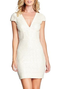 Zoe Sequin Minidress DRESS THE POPULATION in Pearl
