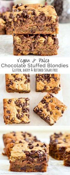Vegan Chocolate Stuffed Paleo Blondies are an easy, healthy dessert that's ready in 30 minutes! Paleo Dessert, Gluten Free Desserts, Dairy Free Recipes, Gourmet Recipes, Vegetarian Recipes, Dessert Recipes, Dessert Bread, Milk Recipes, Dessert Bars
