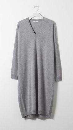 In Heather 6397 Longer Dress Grey Neck V l3Tc1JFK