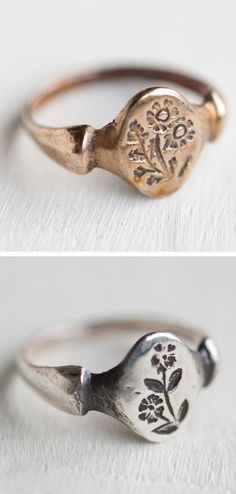 Botanical rings by Peg and Awl of Philadelphia. I own the top ring and one other. They are heirloom quality and incredibly comfortable. Visit them on Etsy.