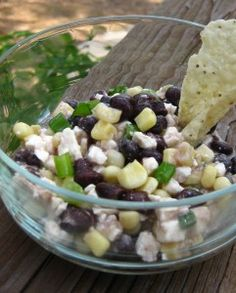 Black Bean, Corn and Feta Dip. This would be good on salad greens.