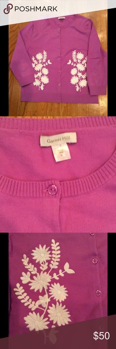 "Garnet Hill embroidered cardigan Never worn. Three quarter sleeve. Deep pink with white embroidery. 75% cotton, 25% nylon. Waist 18"" flat. Top shoulder seam to bottom 22"". Pit to pit 18-1/2"". Garnet Hill Sweaters Cardigans"