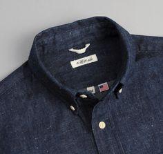 SH1-310 - Selvedge Lightweight Weft-Slub Denim Button-Down Shirt, Indigo