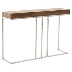 A perfect addition to your entryway or den with this eye-catching console table, showcasing a wood top and open metal base.  Product: