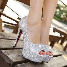 2015 yeni köpüklü taklidi düğün ayakkabı açık ağızlı yüksek topuklu ayakkabılar beyaz kristal tek bayan gümüş elmas gelin ayakkabıları(China (Mainland))