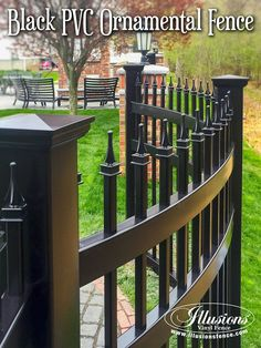 New Fence Ideas. Wow! This is a Curved BLACK PVC Vinyl Ornamental Fence From Illusions Vinyl Fence. So Cool. Call Your Local Illusions Dealer Today. #fenceideas