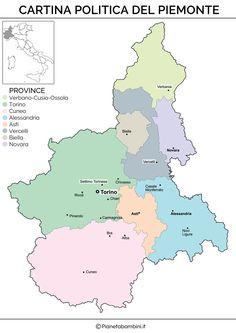 Cartina politica del Piemonte