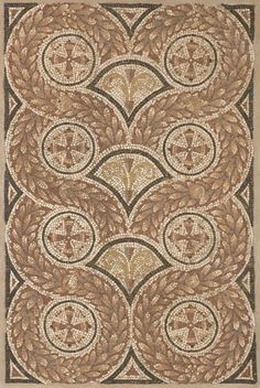 Geometric wreath mosaic.  (mid 4th century AD-late 4th century AD).      NORTH COAST OF AFRICA, (Carthage)