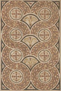 Geometric wreath mosaic.  (mid 4th century AD-late 4th century AD).      NORTH COAST OF AFRICA, (Carthage)