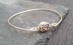 Oval Druzy Bangle Bracelet, Sterling Silver or Gold Bracelet, Black or Rainbow Drusy Stone - Natural Druzy, Druzy Jewelry, Trending Jewelry