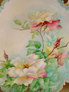 Porcelain Hand Painted Antique Victorian Ice Cream - Dessert Set ~Roses~ Seven Piece Set