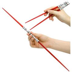 """Lightsaber chopsticks 3: Lightsaber Chopsticks For Chinese Star-Wasabi!  Eat your Chinese """"star-wasabi"""" with these detailed and quirky lightsaber chopsticks! They're available for a variety of Starwars characters including Yoda, Luke Skywalker, Mace Windu and Darth Maul"""