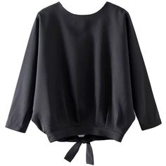 Black Batwing 3\/4 Sleeve Back Split Blouse (£20) ❤ liked on Polyvore featuring tops, blouses, three quarter sleeve tops, three quarter sleeve blouses, 3/4 sleeve tops, round top and 3/4 length sleeve tops