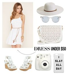 """""""Dress under $50 - Forever 21"""" by laannaaa ❤ liked on Polyvore featuring Forever 21, GUESS, Melissa Odabash, Under One Sky, Sun Buddies, forever21 and Dressunder50"""