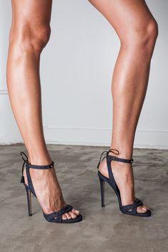 "Ruthie Davis denim studded ""Karin"" stilettos www.ScarlettAvery.com"