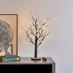 Twig Tree With Lights, White Twig Tree, Light Up Tree, Rustic Christmas, Christmas Lights, Tree Decorations, Christmas Decorations, Led Tree, Tree Lighting