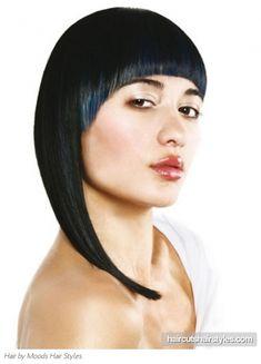 Chic Blue Bangs Hair Style