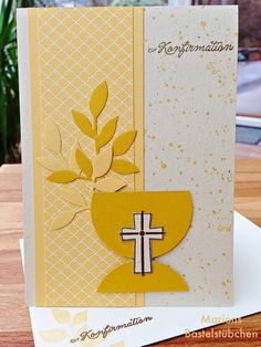 Confirmation cup (Marion& room) Soon we will have a confirmation in the family, so we need a nice card. Confirmation Cards, Baptism Cards, First Communion Cards, First Holy Communion, Sympathy Cards, Greeting Cards, Communion Centerpieces, Religious Images, Congratulations Card