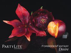 NEU: #ForbiddenFantasy by PartyLite #Desire - Empfinden Sie tiefes Verlangen durch den Duft üppiger, gewagter Früchte mit Kombinationen aus weißer Magnolie und Jasminblüten... Würzige Nelken und Moschus runden dieses saftige Dufterlebnis ab ♥