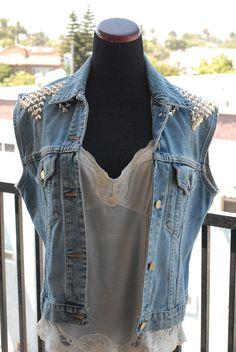 Awesome 80s/90s HandStudded Denim Vest by TheVelvetVeil on Etsy, $45.00