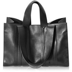 Corto Moltedo Costanza Beach Club Large Black Nappa Leather Tote ($2,510) ❤ liked on Polyvore featuring bags, handbags, tote bags, black, clasp purse, corto moltedo, beach purse, tote bag purse and beach tote