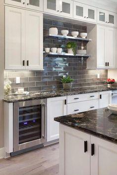 30 Simple Kitchen Backsplash Ideas Carolanne News Home Kitchen Tiles Backsplash, Kitchen Renovation, Home Decor Kitchen, Backsplash With Dark Cabinets, Kitchen Remodel, Home Kitchens, Trendy Kitchen Backsplash, Kitchen Redo, Kitchen Design