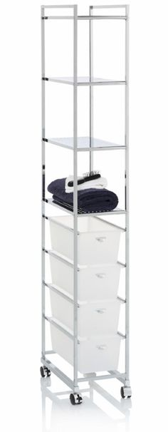Four drawer four shelf trolley, lockable castors, narrow and made from stainless steel/chrome. (PYS712) Available from Howards Storage World.
