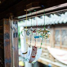 Carillon à Vent en Verre Cloche Eolien Décoration de Jardin Fenêtre Style Japonais - 4#: Amazon.fr: Jardin