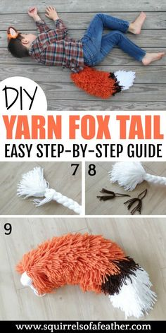 This is such a cute yarn craft for adults to make as a gift for kids who love pretend play! Who wouldn't want to dress up with such a cute little fox costume? Good for Halloween or just as an adorable DIY project. I like activities for kids like this that Yarn Crafts For Kids, Fox Crafts, Crafts For Teens To Make, Diy Crafts To Sell, Diy For Kids, Easy Yarn Crafts, Craft Projects For Adults, Sell Diy, Crochet Crafts