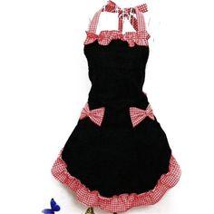 Nueva Lindo Vestido Glamour Vintage Babero Delantal de Cocina Mujer Bowknot con Bolsillo de Regalo