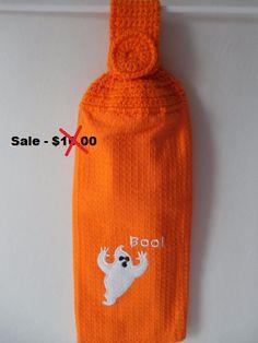Halloween-Kitchen Hanging Towel-Crochet by ShelleysCrochetOle