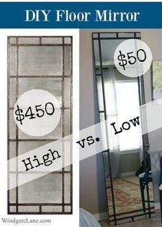 Leaning Floor Mirror DIY | Floor mirror, Diy mirror and Living rooms