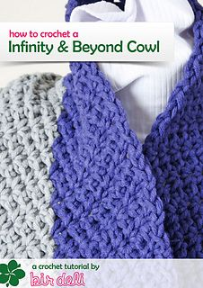 Free crochet cowl pattern Purple grey infinity and beyond cowl