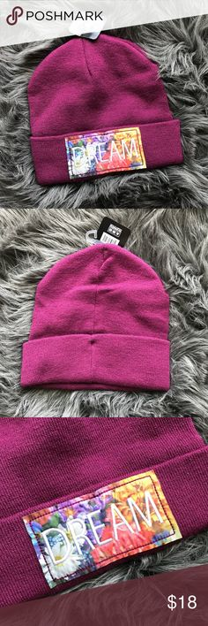 "🔻Dream Beanie Super cute purple beanie with ""dream"" floral patch 